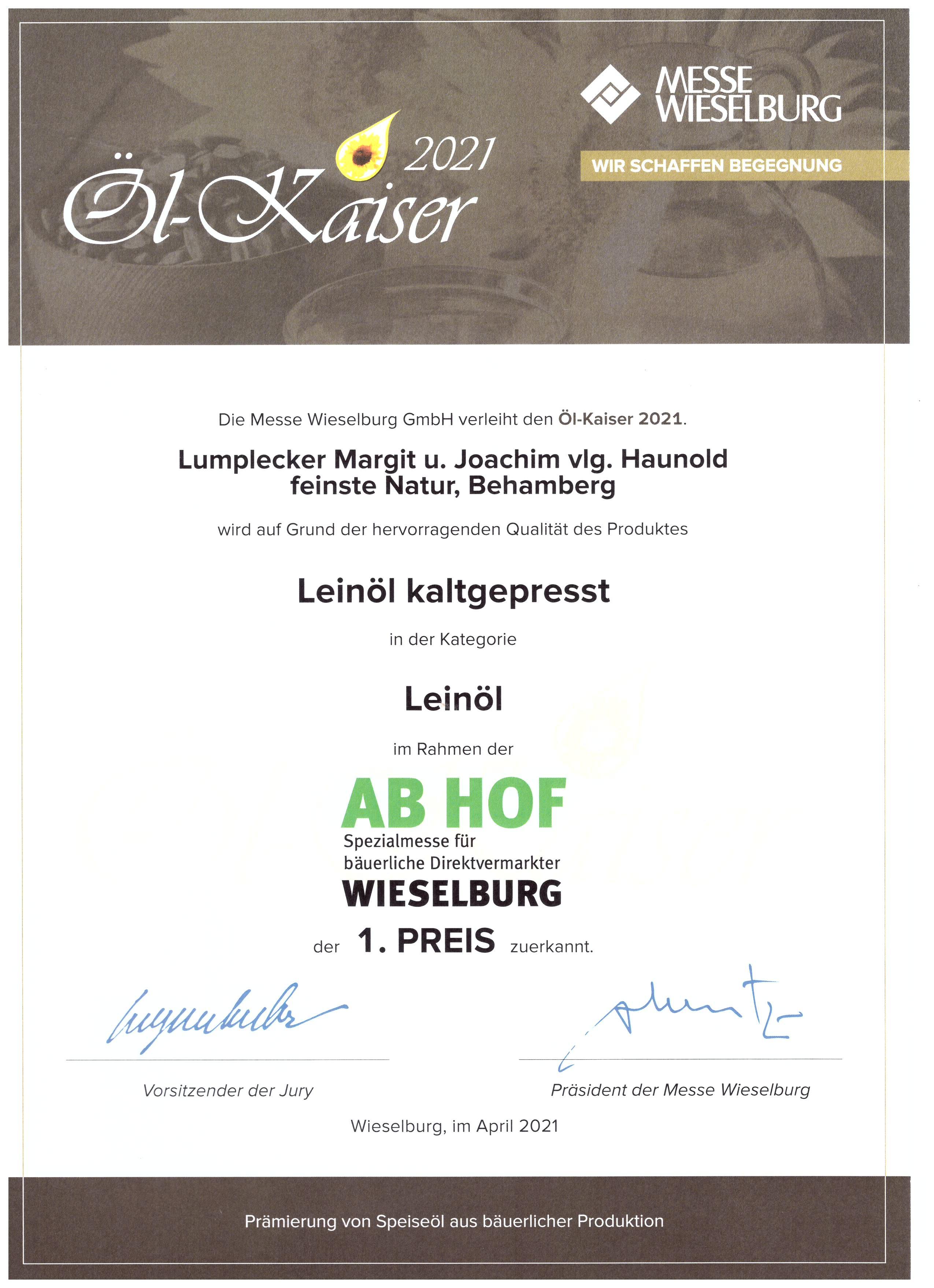 ÖL-Kaiser 2021 – 1. Preis für Leinöl