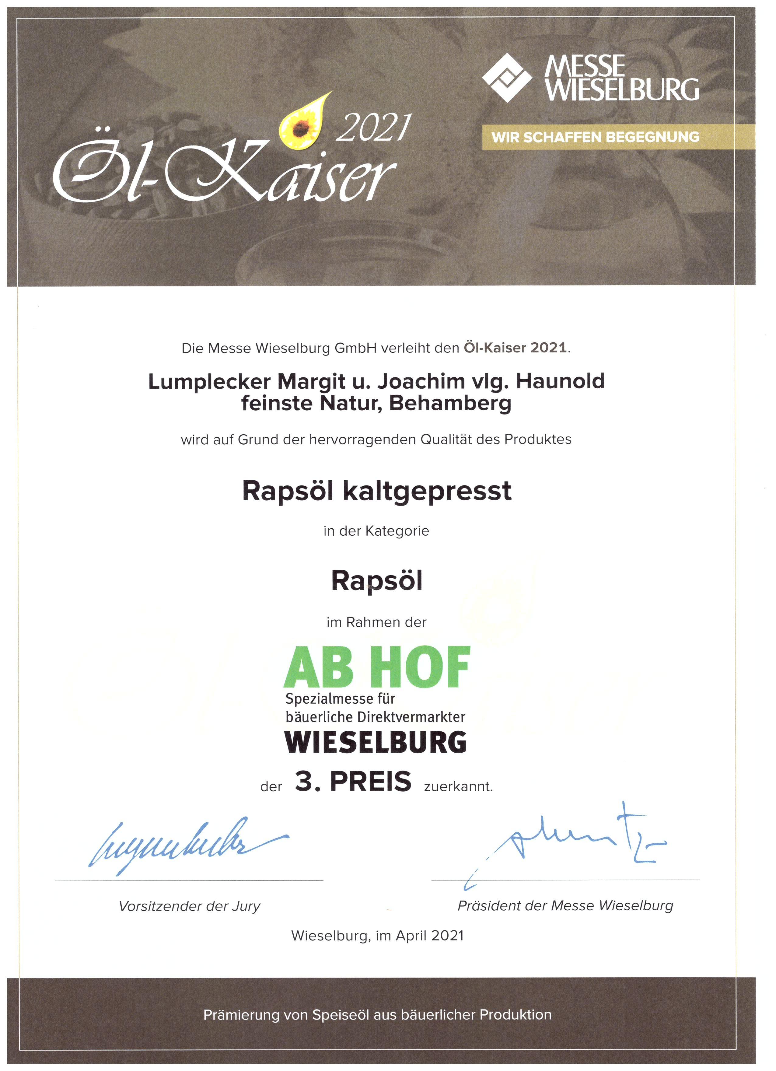 ÖL-Kaiser 2021, 3. Preis für Rapsöl